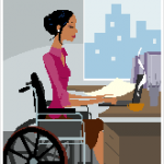 girl in wheelchair at computer
